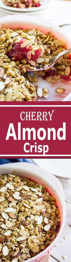 Crunchy oatmeal topping with slivered almonds make this quick cherry dessert extra delicious.