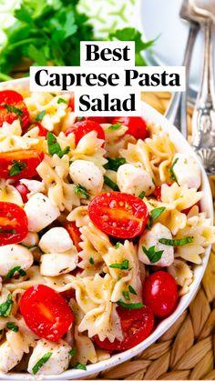 Caprese Pasta Salad, Pasta Salad Recipes, Healthy Salad Recipes, Best Pasta Salad, Summer Pasta Salad, Healthy Dishes, Vegetarian Recipes, Appetizer Recipes, Dinner Recipes