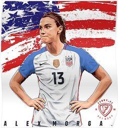 'Alex morgan' Poster by sarasifocaftan Alex Morgan Poster, Alex Morgan Quotes, Morgan Usa, Usa National Team, Carli Lloyd, Mia Hamm, Fifa Women's World Cup, Morgan Soccer, Soccer World
