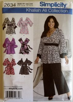 Sewing Pattern Simplicity 2634 - Khaliah Ali Collection - Women's Pullover Top with Sleeve Variations - Size 18W-24W - UNCUT