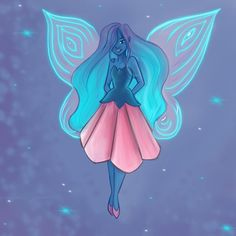 Pretty Fairy . . . #art #drawing #doodles #painting #sketch #character #design #illustration #work #fairytail #cartoon #pretty #beautiful #gorgeous #fun #life #fairy #sparkle #pink #purple #bluehair #flowers #wings #butterfly #love