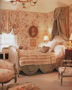 The Pink Pagoda: Bedrooms Then and Now brown and cream toile wallpaper and valance, taupe canopy Luxury Bedroom Furniture, Furniture Decor, Bedroom Decor, Luxury Bedding, Shabby Chic Bedrooms, Shabby Chic Decor, Romantic Bedrooms, Pink Bedrooms, Small Bedrooms