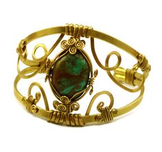 Wire Wrap Brass Cuff Bracelet with Vintage Turquoise by Hyppiechic, $55.00