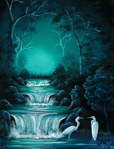 Waterfall scene with teal night glow and white birds. Pretty painting idea!