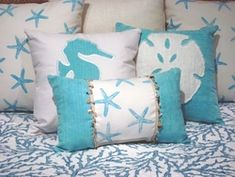 Coastal Bedding Twin Quilt Reef Blue
