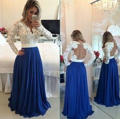 Long Sleeves Lace Pearls Chiffon Prom Dresses V Neck White&Blue Evening Gowns