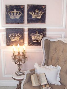 Love, love, love the elegance of these crowns/paintings... could I recreate this for Kay's room???