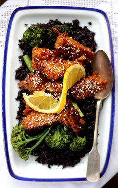 Orange Marmalade Glazed Tempeh with Broccoli & Black Rice - Earthy Feast