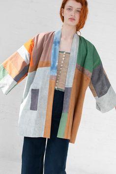 Quilted Kimono Jacket in Earth with Indigo Boro, Kimono Coat, Traditional Fashion, Textiles, Kimono Fashion, Colorful Fashion, Clothing Patterns, Couture, Korean Fashion