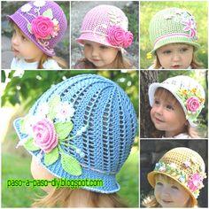 Aprende a realizar este hermoso sombrero tipo Panamá tejido al crochet para niña.   Está realizado ...