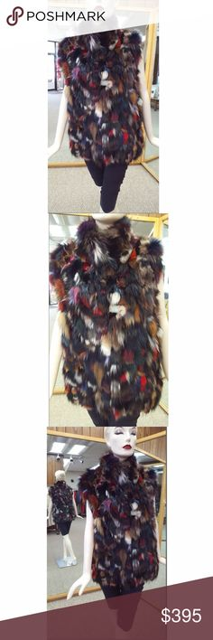 """Multicolor Fox Sections 28"""" Vest Multicolor Fox Sections 28"""" Vest  Size 8-10 (can fit up to a size 14 if you don't want it to close) A.J. Ugent Furs Jackets & Coats Vests"""