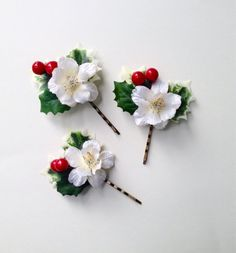 Christmas hair pins, holiday hair accessory, Holly Berry and white flower now in my etsy shop~ by HollyHoopsArt