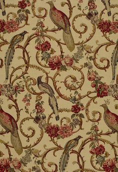 Fabric | Madrigal in Document | Schumacher: My favorite chairs are covered in this. They are beautiful! Maybe that's why the parrots in the fabric store were so chatty with me!
