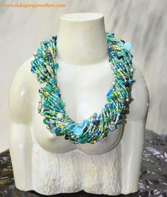 Chunky African beaded necklaceStatement necklaceCobalt by Lukagwa, $115.00