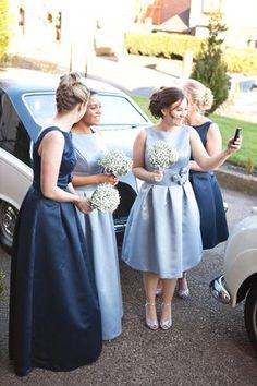 An Elegant 'Audrey Hepburn', 50's Inspired blue bridesmaid dresses - Jo Hastings Photography Not blue Not long