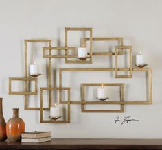 Interlocking Squares Gold Wall Sconce | Geometric Candle Holder