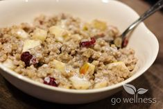 Warm Buckwheat Groats with Apples and Cranberries -- Gluten-free, warm breakfast option.