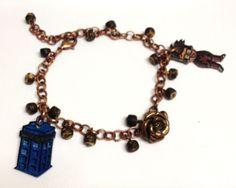 NEW OOAK 10th Doctor TARDIS Rose charm bracelet David Tennant Whovian