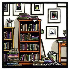Studio Library - Linoleum Block Print - Hand Painted - Ken Swanson, Printmaker