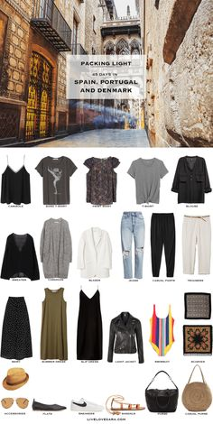 If you are wondering what to pack for Spain, Portugal, Denmark, and Greek Islands for 45 days during the summer months, you can see some outfit ideas here. What to Pack for Spain Packing Light List Travel Outfit Summer, Summer Travel, Summer Outfits, Travel Wardrobe Summer, Packing Light Summer, Outfits For Spain, Winter Travel, Travel Capsule, Travel Light