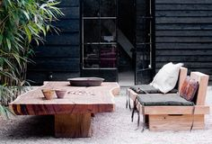 wooden furniture, outdoor style. love this!