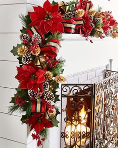 Shop Red & Green Collection Pre-Lit Garland at Horchow, where you'll find new lower shipping on hundreds of home furnishings and gifts. Gold Christmas Decorations, Christmas Swags, Burlap Christmas, Red Christmas, Christmas Themes, Christmas Ornaments, Holiday Decor, Primitive Christmas, Country Christmas