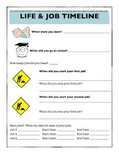Life and job timeline for adult beginning low ESL students in order to prepare them to fill out a job application