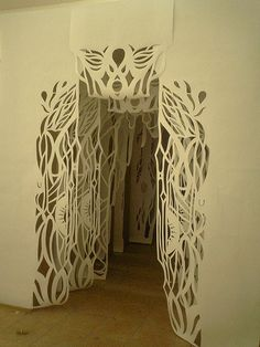 Welcome them in with paper cut tunnels (plus other paper cutting ideas). Kirigami, Paper Cutting, Cut Paper, Paper Art, Paper Crafts, Paper Book, Instalation Art, 3d Fantasy, Art Original