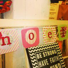 """""""Noel"""" Banner from Something Sweet Vintage Boutique in Kansas City. www.Facebook.com/somethingsweetkc"""