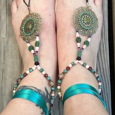 Boho Barefoot Sandals Slave Anklets Beach by AlyssaDyaneCreations Bare Foot Sandals, Beach Sandals, Cute Gifts, Best Gifts, Teal Ribbon, Hippie Gypsy, Handmade Shop, Etsy Jewelry, Stone Beads