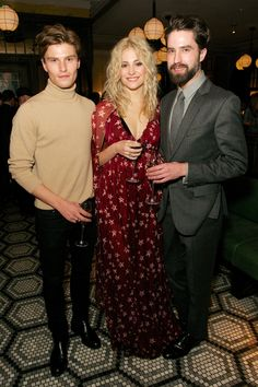 Oliver Cheshire, Pixie Lott and Jack Guinness at the London Collections dinner to celebrate men's fashion.