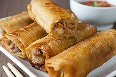Spring Rolls - Air Fryer Recipes at thehealthykitchen. Chefman Air Fryer, Nuwave Air Fryer, Cooks Air Fryer, Nuwave Oven Recipes, Actifry Recipes, Power Air Fryer Recipes, Air Fryer Oven Recipes, Air Frier Recipes, Air Fried Food