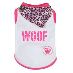 "This adorable ""WOOF"" doggie tank is adorned with a sewn in pink leopard bandana. Your pup will be ready to strut around town with her head held high!"