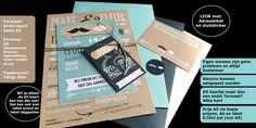 typografische trouwkaart  ook leuk met label en extra A6 kaart voor daggasten