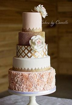 Gorgeous Blush pink and gold wedding cake. Cakes by Camille #goldweddingcakes
