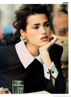 Supermodel Yasmin Le Bon. Fashion. Makeup. Jewelry. 1980s.