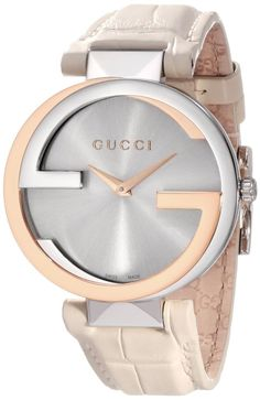 Gucci Watch , Gucci Women's YA133303 Interlocking White Crocodile Pink Gold and Steel Watch: