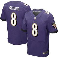 Men's Baltimore Ravens #8 Matt Schaub Purple Team Color NFL Nike Elite Jersey