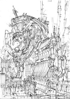Environment Sketch, Environment Design, Drawing Studies, Art Studies, City Drawing, Drawing Sketches, Futuristic Architecture, Art And Architecture, Ink Pen Art