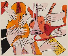 Instruments with Hands / 1957 / ink and watercolor on paper by Andy Warhol