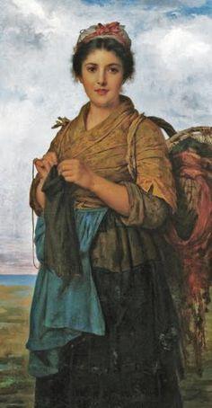 Léon-Jean-Bazille Perrault (Frances artista, 1832-1908) Joven Costurera Charles Sillem Litterdale (Británico pintor, 1831-1895) Tejido Augus ...