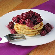 Lemon Poppyseed Ricotta Pancakes with Blackberry Sauce.  Omg... I'm drooling.