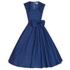 Audrey Hepburn vintage solid waist bow swing cotton dress