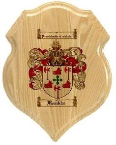 $34.99 Rankin Family Crest Plaque / Coat of Arms Plaque.  at www.4crests.com - Your family coat of arms on a thick, beveled edge 12 inch oak plaque.  Manufactured by: Family Crests Store Merchant SKU: rankin:plaque Thick Oak Family Crest Wall Plaque Great gift for anyone Family coat of arms / family crest printed in full color A great item for genealogy enthusiasts Hang on your home or office wall