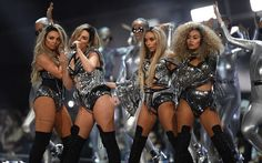 Little Mix preforming at the Brit Awards 2017