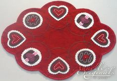 Hearts Valentines Penny Rug Wool Applique PATTERN & Wool Felt KIT Holiday Love Chocolates Sweet Candy Needlecraft Primitive Red by PennyRugsPlus on Etsy https://www.etsy.com/listing/89533013/hearts-valentines-penny-rug-wool