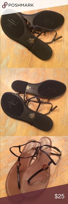 Ralph Lauren sandals Chocolate brown Ralph Lauren sandals with gold hardware brand-new never worn size 9 Lauren by Ralph Lauren Shoes Sandals