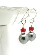 Pearl earrings with Ruby  Swarovski pearl earring by atelierblaauw