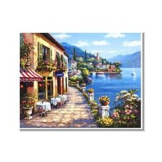 Buy inspirational Feng Shui horizontal wall art painting Overlook Cafe by Sung Kim from our seascape wall art paintings collection. This positive energy ready-to-hang stretched giclee is printed on hi Belle Image Nature, Seaside Cafe, Pintura Exterior, Horizontal Wall Art, Murals Your Way, Cafe Wall, Creation Photo, Thomas Kinkade, Stretched Canvas Prints