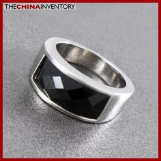 SIZE 10 STAINLESS STEEL FACETED BLACK AGATE RING R1001 Jewelry Auctions, Agate Ring, Black Agate, Wholesale Jewelry, Pearl Jewelry, Body Jewelry, Hip Hop, Rings For Men, Fashion Jewelry